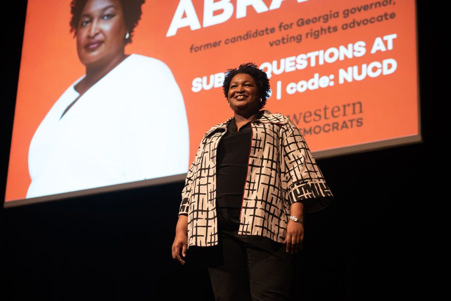 Stacey+Abrams+speaks+at+Cahn+Auditorium.+Abrams+discussed+the+importance+of+the+2020+Census+and+her+plan+for+free+and+fair+elections.