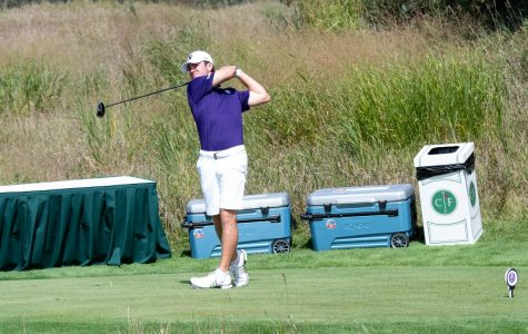John Driscoll III follows through on a swing. The freshman's final-round 66 at Erin Hills represented the lowest round of the Marquette Intercollegiate tournament.