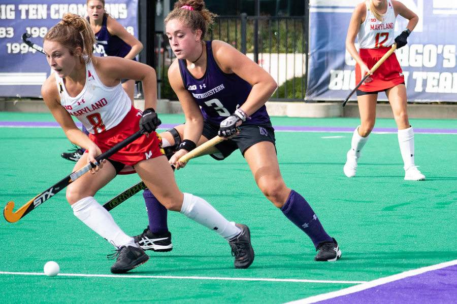 Freshman forward Bente Baekers, attempts a steal in a matchup against Maryland. Baekers, who recorded 2 goals against Rutgers, and is third in the nation in scoring with 19.