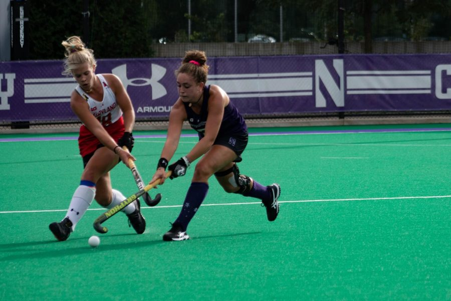 Bente Baekers hits the ball. The freshman forward leads the team with 19 goals.