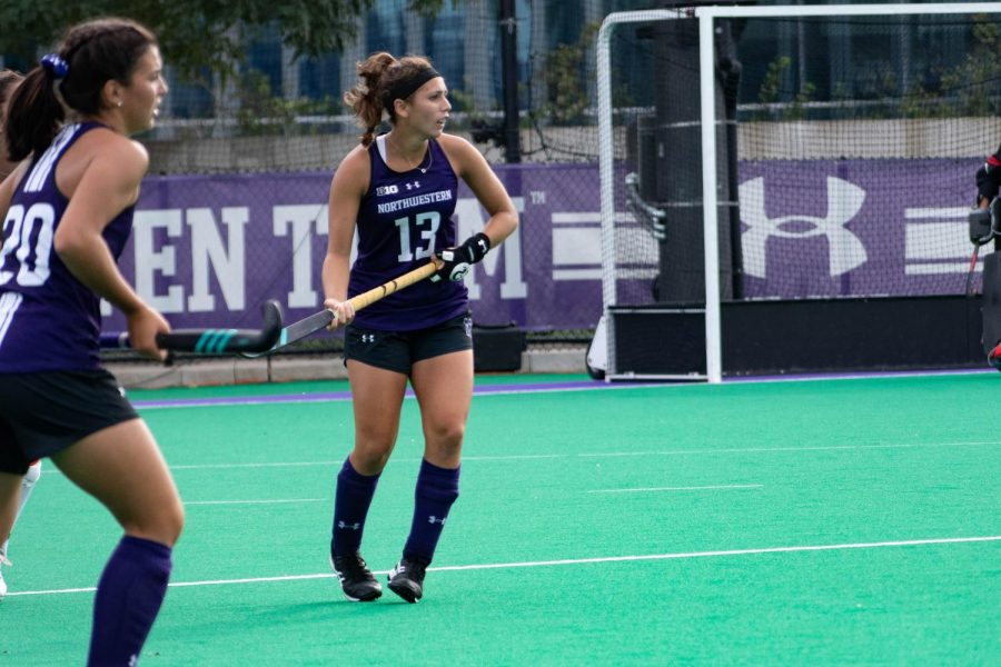 Lily Gandhi stares at her opponents on the field. The senior defender will play in her final home game on Friday.