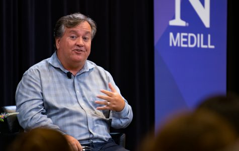 Medill alum and four-time Pulitzer Prize-winning journalist David Barstow spoke at the Wednesday event. Prof. Debbie Cenziper, Medill's Director of Investigative Journalism, moderated the Q&A session.