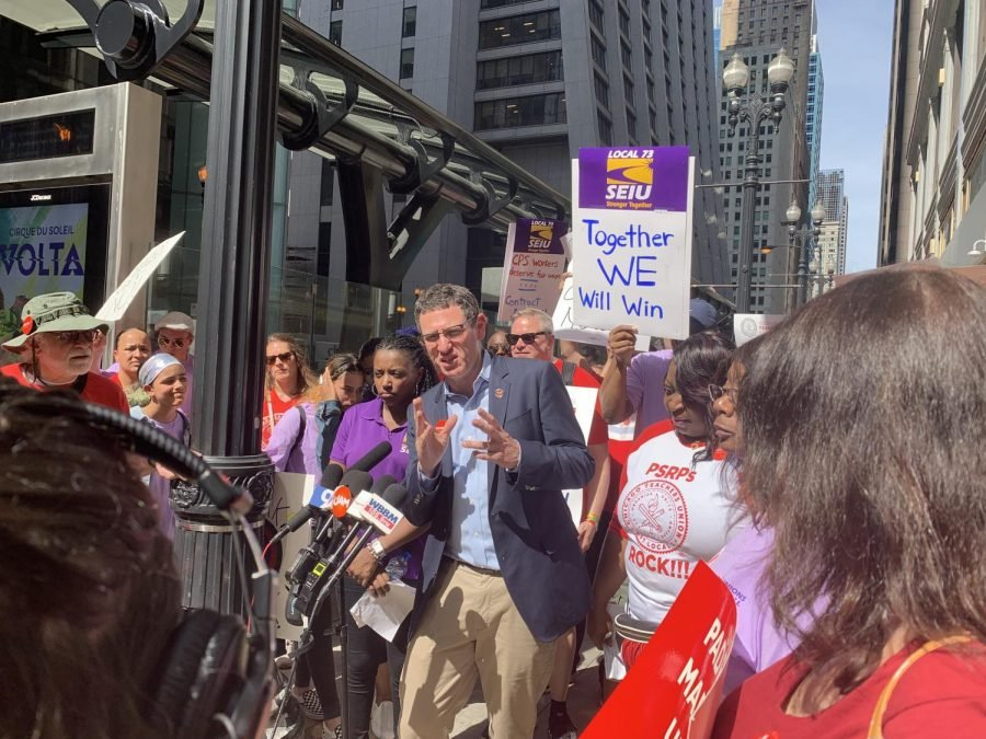 Chicago+Teachers+Union+president+Jesse+Sharkey+speaks+before+a+school+board+meeting+in+August.+The+union+announced+they+will+strike+on+Thursday.+