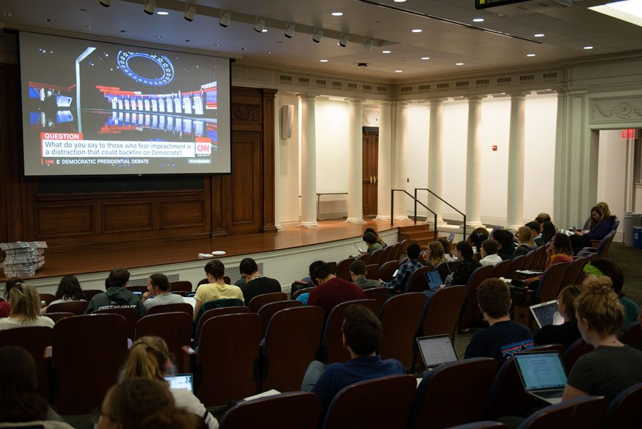 Students+watch+the+Democratic+Presidential+Debate+at+Harris+Hall.+The+watch+party+was+hosted+by+Associated+Student+Government%2C+Political+Union+and+College+Democrats.