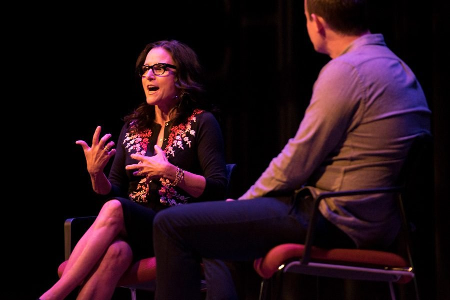 "Julia Louis-Dreyfus speaks at Chicago Humanities Festival. The Northwestern alumna has won eight acting Emmys for her work on acclaimed sitcoms such as ""Seinfeld"" and ""Veep."""