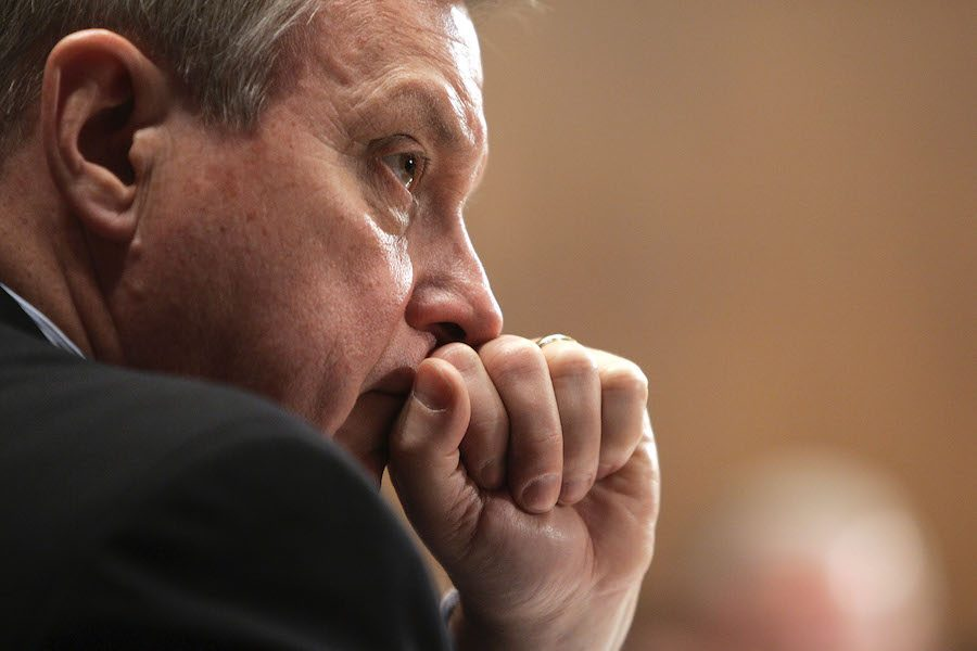 U.S. Sen. Dick Durbin (D-Ill/) listens to the Chairman of the Senate Judiciary Committee on Capitol Hill in Washington, Tuesday, January 24, 2006. Durbin on Wednesday introduced legislation to eliminate the green card backlog in the United States.
