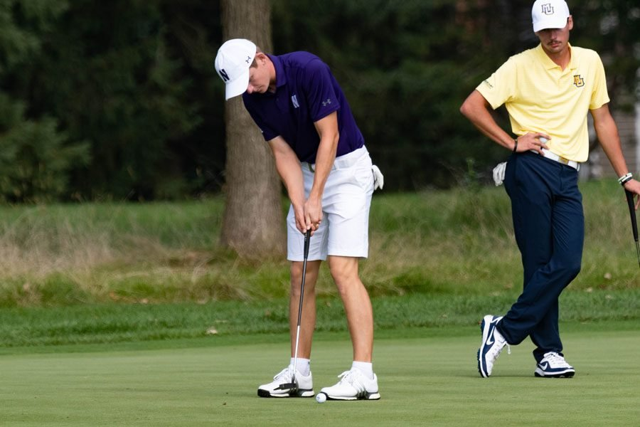 David Nyjfäll hits the ball. The sophomore finished in fifth place with a score of -4 at the Marquette Intercollegiate.