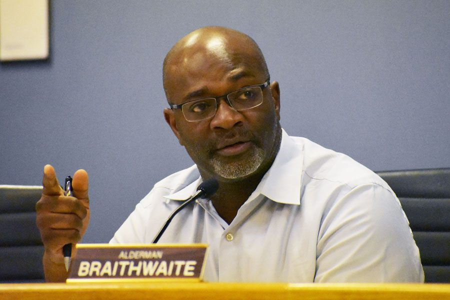 Ald. Peter Braithwaite (2nd) at a City Council meeting. Two residents accused Braithwaite of abuse of power, intimidation and lack of impartiality in a complaint to the ethics board.