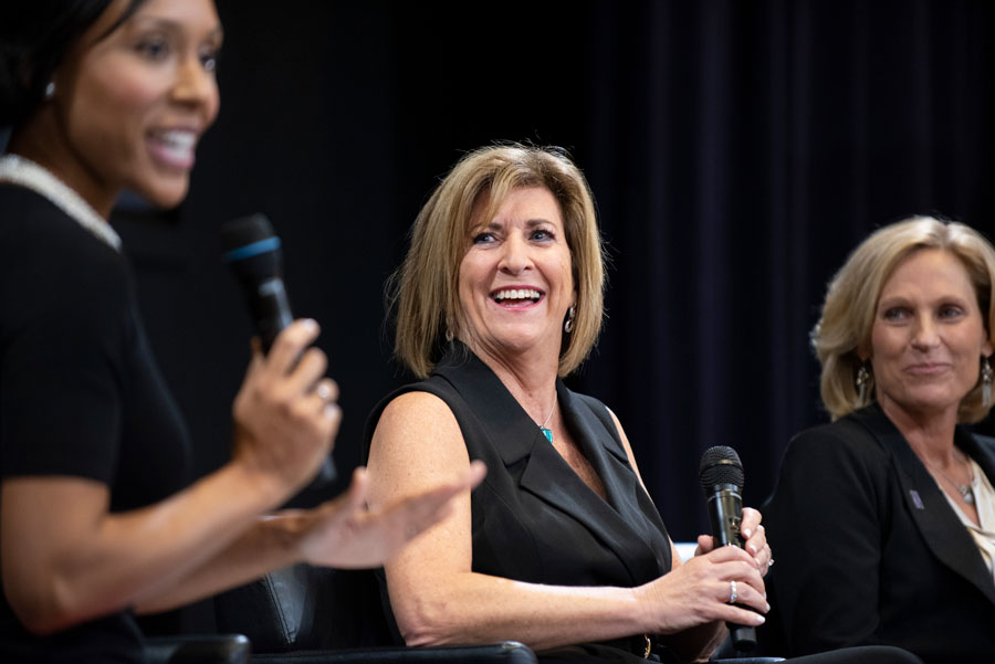 """Panelists Melissa Isaacson, Connie Erickson Brown and Amy Eshleman discuss topics in Isaacson's new book, """"State: A Team, a Triumph, a Transformation."""" Isaacson's book was published earlier this year."""