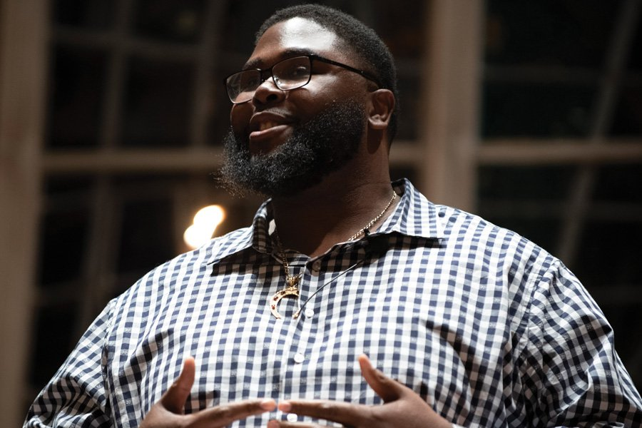 Harvard Prof. Anthony Jack speaks at Alice Millar Chapel. Jack, who is the seventh speaker of the Nancy and Ray Loeschner Leadership Series, said elite institutions aren't doing enough to accommodate low-income, first-generation students.
