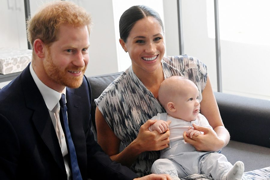 Prince Harry, Meghan Markle and their baby son Archie Mountbatten-Windsor meet Archbishop Desmond Tutu and his daughter Thandeka Tutu-Gxashe at the Desmond & Leah Tutu Legacy Foundation during their royal tour of South Africa in September 2019 in Cape Town, South Africa.