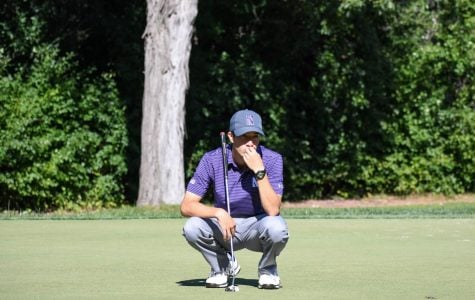 Sophomore Yannick Artigolle prepares to take a shot. The sophomore finished with a 9-over in his lone tournament of the season.
