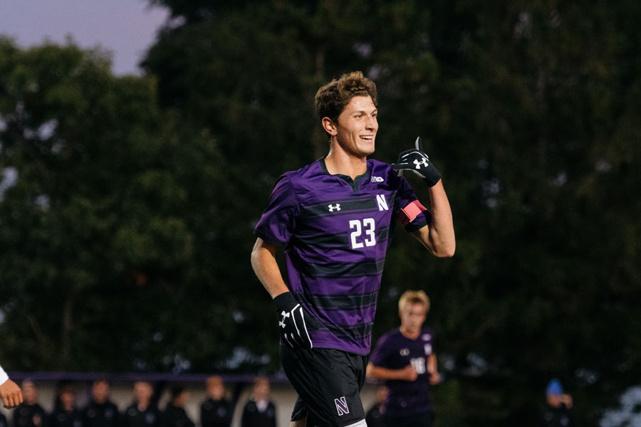 Spencer Howard celebrates. The junior forward recorded a hat trick on Monday as the Wildcats won 6-0 in a home exhibition.