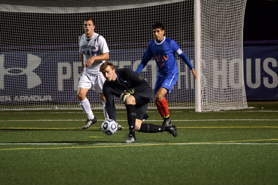 Tyler Miller rolls the ball. The current LA Galaxy goalie was mentored by Neil Jones during his illustrious Northwestern career.
