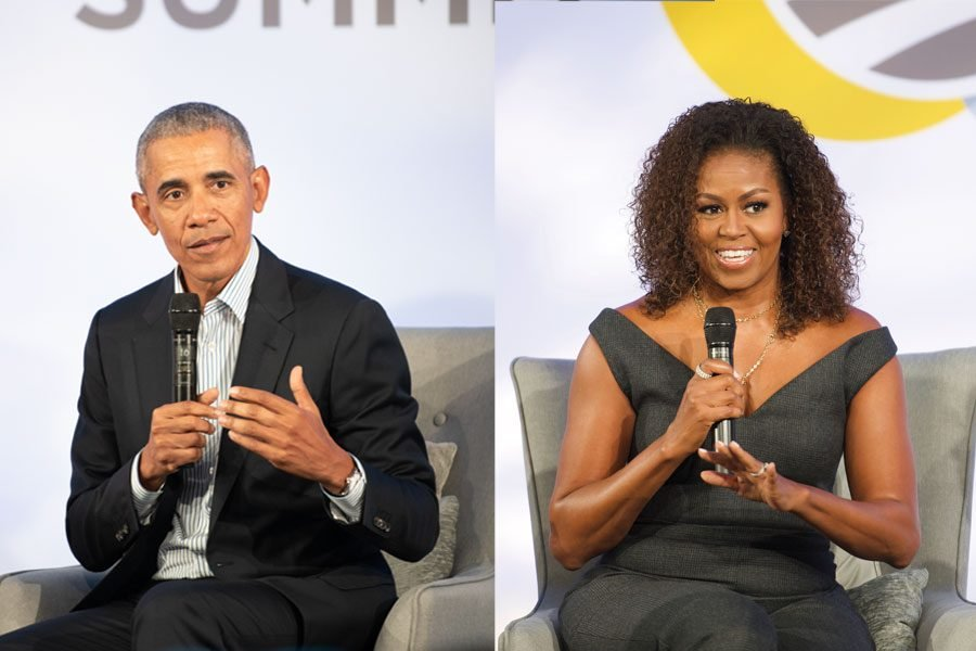Former president Barack Obama and former first lady Michelle Obama. Both Obamas spoke about place and purpose at Tuesday's third-annual Obama Foundation Summit.