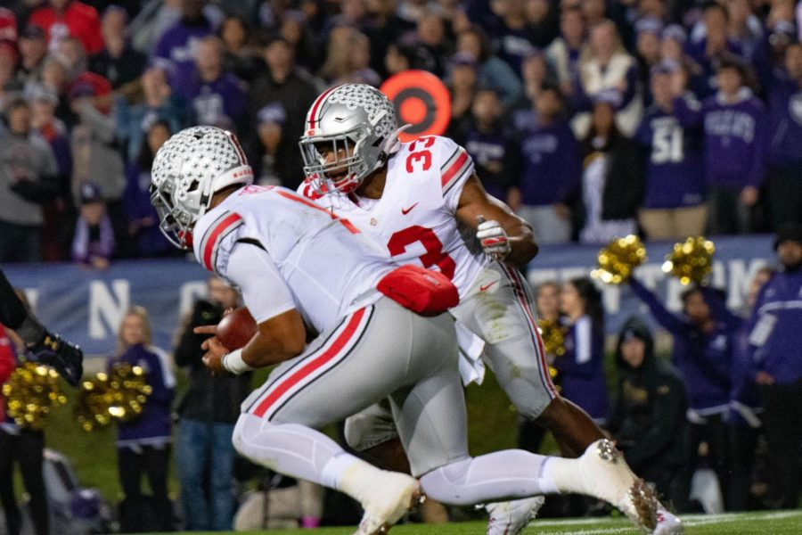 Ohio+State+quarterback+Justin+Fields+sprints+forward.+The+sophomore+powered+the+Buckeyes+to+a+blowout+win+over+Northwestern+on+Friday.