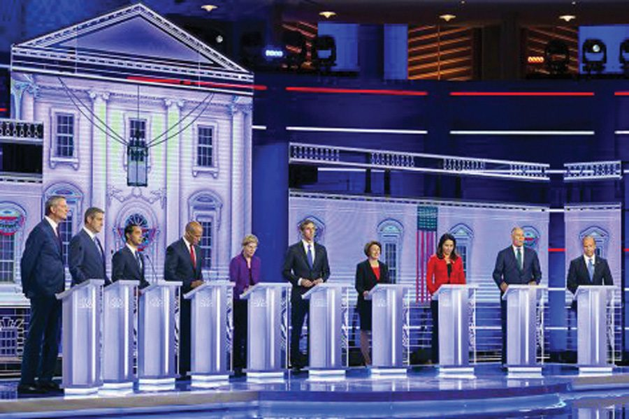 Ten candidates appear onstage during the third round of debates in Houston. The event took place at Texas State University, a public historically black college.