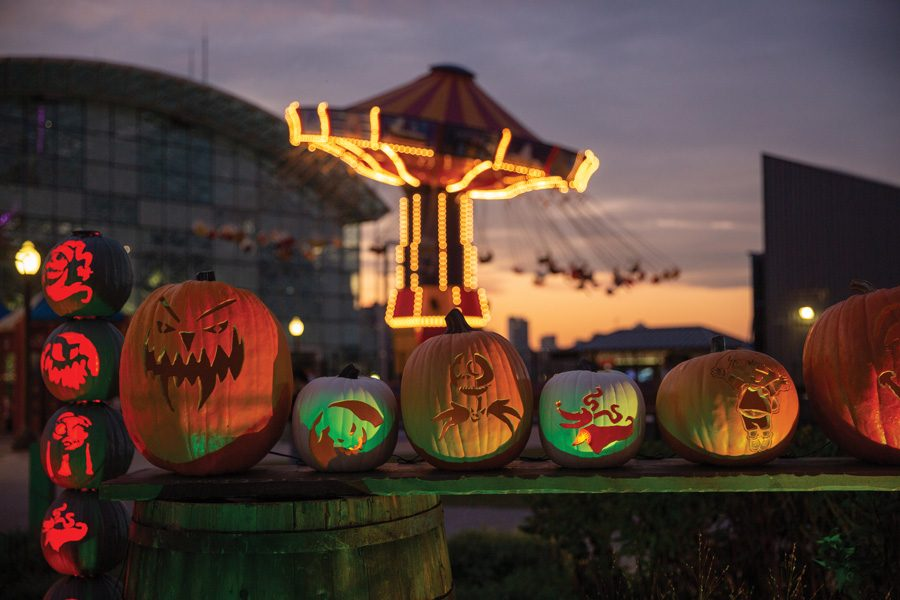 """A """"Pier Pumpkin Lights"""" installation at Navy Pier. The month-long event opened Tuesday, and will close Nov. 2."""