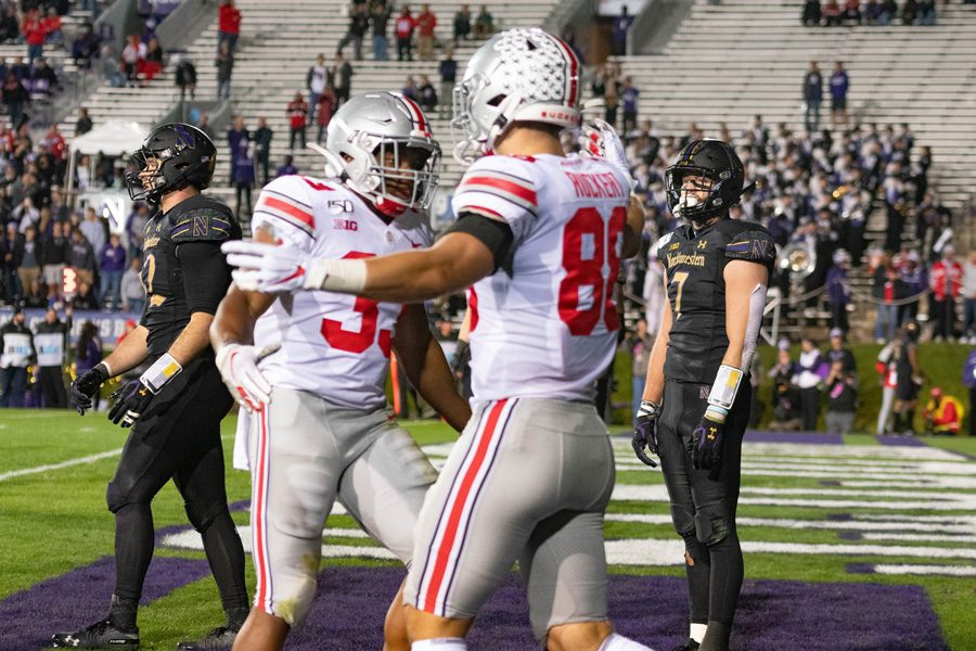 Ohio+State+celebrates+in+the+end+zone+after+scoring+yet+another+touchdown+against+the+Wildcats+last+Friday.+NU+is+trying+to+rebound+from+its+worst+loss+since+2007.