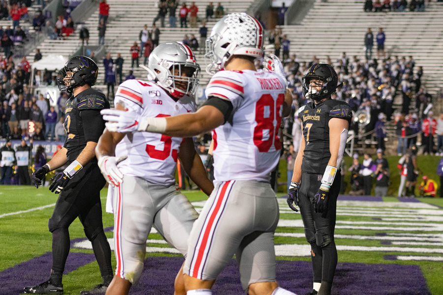 Ohio State celebrates in the end zone after scoring yet another touchdown against the Wildcats last Friday. NU is trying to rebound from its worst loss since 2007.