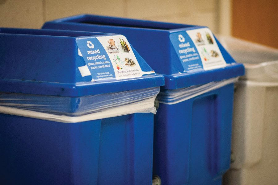 "Recycling bins in Technological Institute. Evanston recently ended its ""nope"" educational campaign that reminded residents what not to recycle."