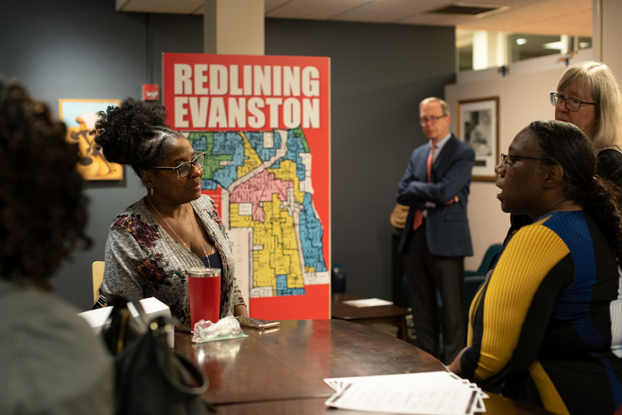 Evanston residents gather to discuss redlining at the Lorraine H. Morton Civic Center. The event was the first in a series the city is holding.