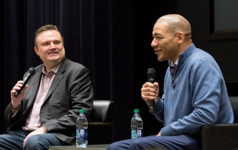 Medill Prof. J.A. Adande (Medill '92) speaks with Houston Rockets general manager Daryl Morey at a January 2018 campus event.