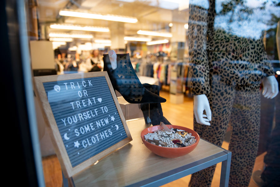 A sign in the window of Crossroads Trading Co. in Evanston. Northwestern students expressed frustration with the prices at the store.