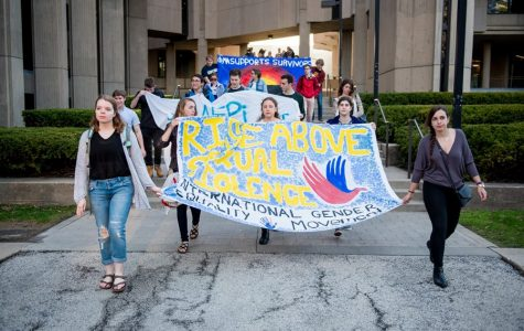 Student protesters during the 2016 Take Back the Night annual march. Northwestern's Office of Equity released the results of the 2019 Association of American Universities Campus Climate Survey on Tuesday.