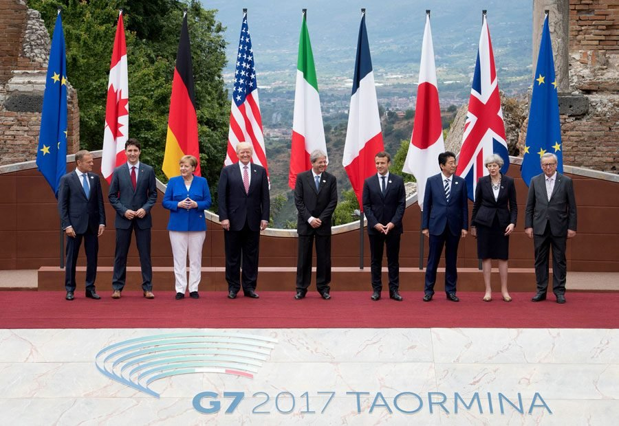 US+President+Donald+Trump+and+Japanese+Prime+Minister+Shinzo+Abe+pose+for+a+photo+with+other+world+leaders+at+the+2017+G7+summit+at+Teatro+Greco+in+Taormina%2C+Sicily%2C+Italy.+On+Friday%2C+Northwestern+professors+discussed+Japan%E2%80%99s+economic+prospects+as+part+of+their+fall+lecture+series.
