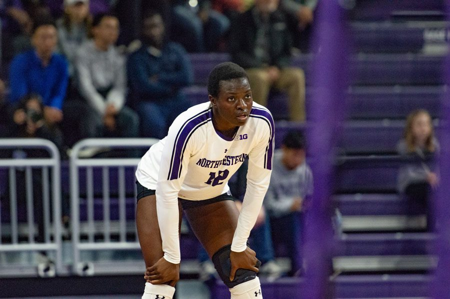 Temi Thomas-Ailara stares at her opponent. The freshman outside hitter leads the Big Ten in kills per set.