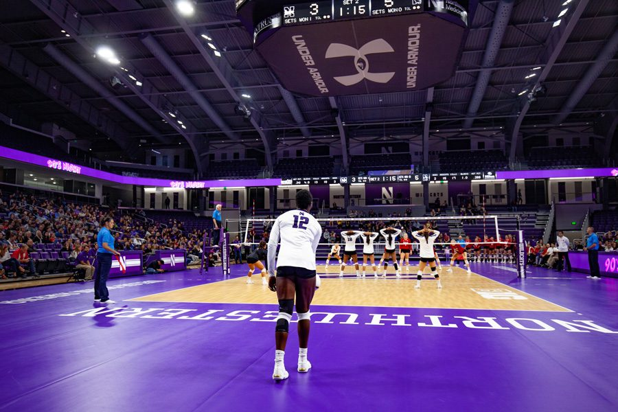 Temi+Thomas-Ailara+prepares+for+a+serve.+The+freshman+outside+hitter+is+fifth+in+the+Big+Ten+in+service+aces.
