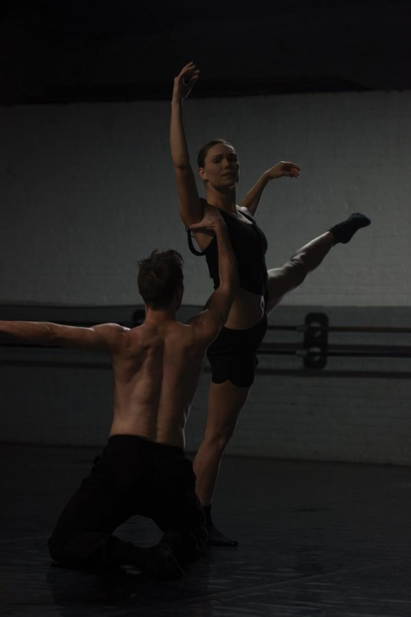 Dancer+Braeden+Barnes+bends+over+backward+as+he+rehearses+his+solo+for+%E2%80%9CFall+Engagement.%E2%80%9D+The+show+opens+on+Oct.+4+at+the+Athenaeum+Theatre+Chicago.