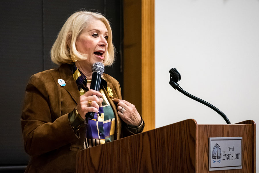 MSNBC contributor Jill Wine-Banks speaks at the Lorraine H. Morton Civic Center on Tuesday. The event, hosted by Indivisible Evanston, focused on increasing civic engagement in the 2020 election.