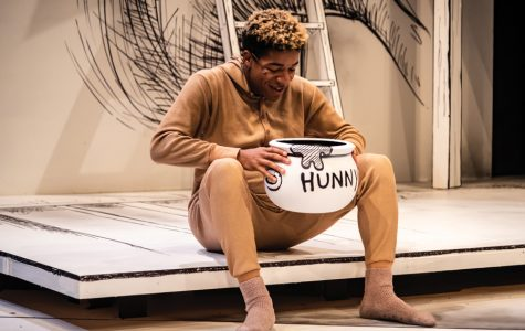 "Communication sophomore Jay Towns rehearses ""Winnie-the-Pooh."" Presented by Imagine U, the show opens this Friday at the Virginia Wadsworth Wirtz Center for the Performing Arts and will run through Nov. 17."
