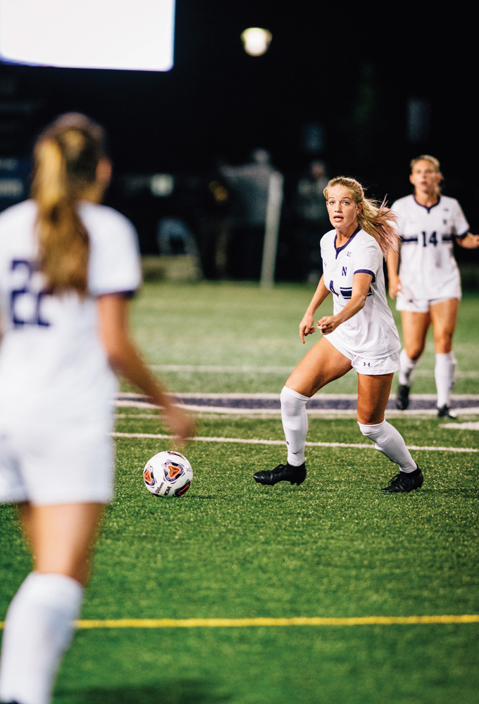 Regan Steigleder prepares to kick the ball.  The junior and her team will look to win their third straight game on Thursday.