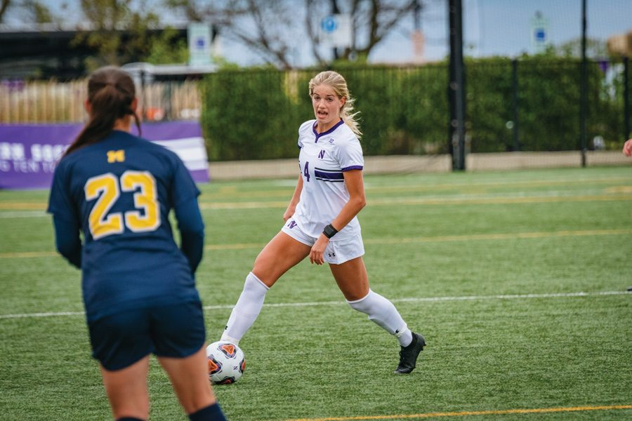 Regan Steigleder hits the ball. The junior midfielder scored the Cats' lone goal in the team's last contest.