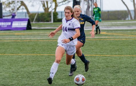 Marianna Annest dribbles the ball. The freshman defender scored the lone goal for Northwestern on Thursday.