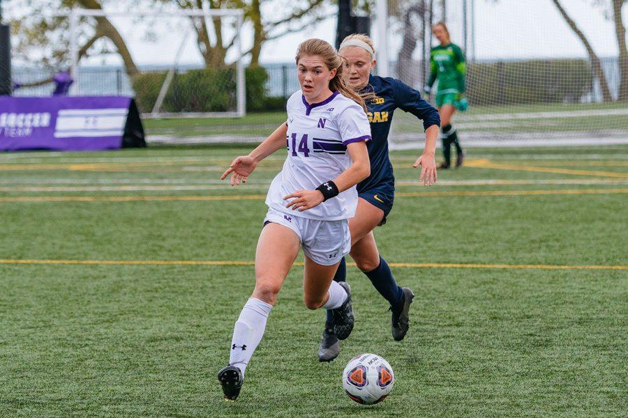 Marianna Annest dribbles the ball. The freshman defender scored the lone goal for Northwestern on Thursday.