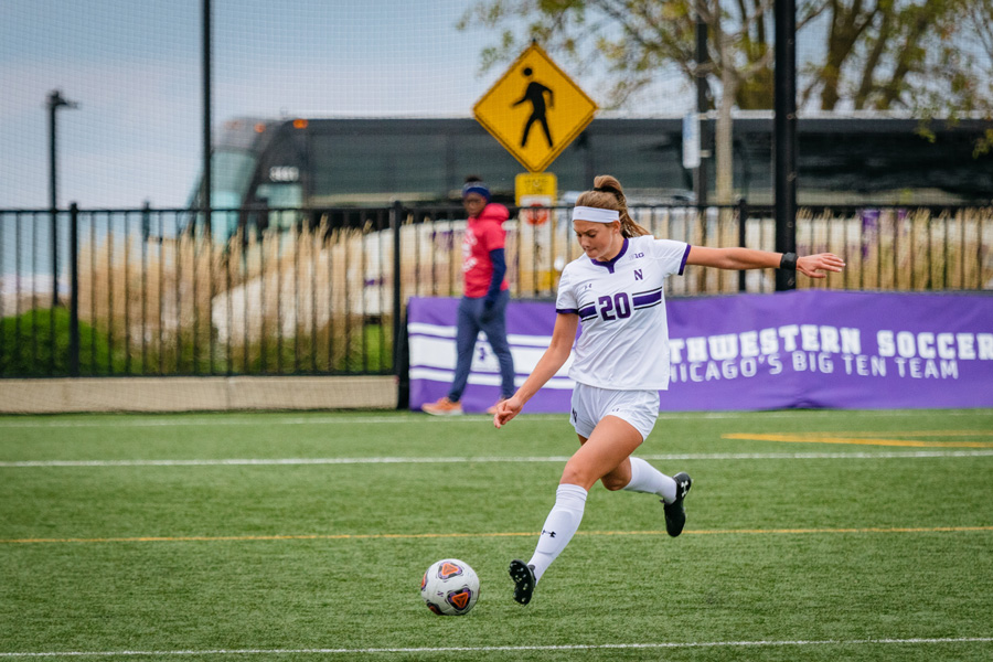 Defender Reilly Riggs prepares to kick the ball. The freshman scored Northwestern's lone goal against Wisconsin.