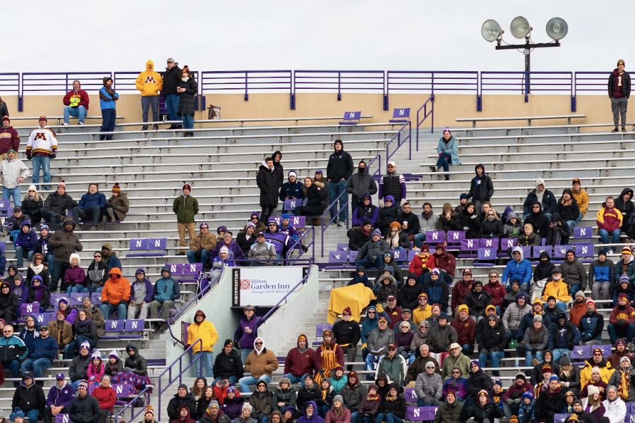The+crowd+at+Ryan+Field+on+Saturday+against+Minnesota.+Despite+the+Wildcats%E2%80%99+struggles%2C+several+fans+are+still+staying+at+all+games+from+start+to+finish.