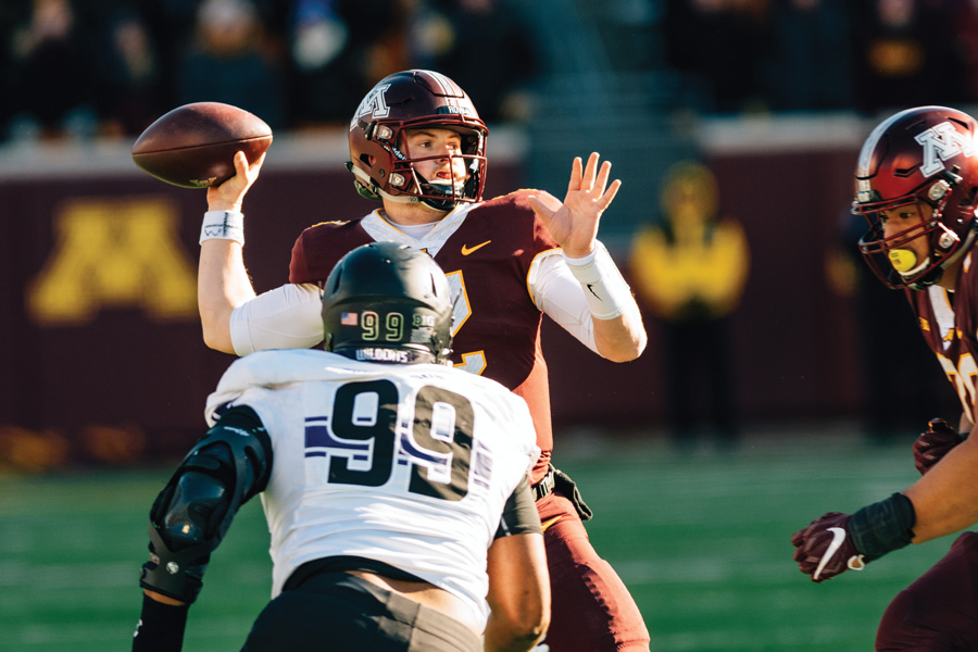 Tanner Morgan attempts a pass in a 2018 game between Northwestern and Minnesota. The Gophers have had a very successful 2019 season.