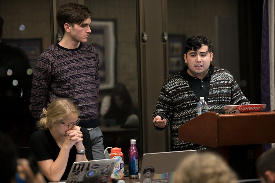 Daniel Rodriguez, resolution author and ASG senator, fields questions from other senators during the Nov. 6 session. The legislation passed 28-2, with two abstention votes.