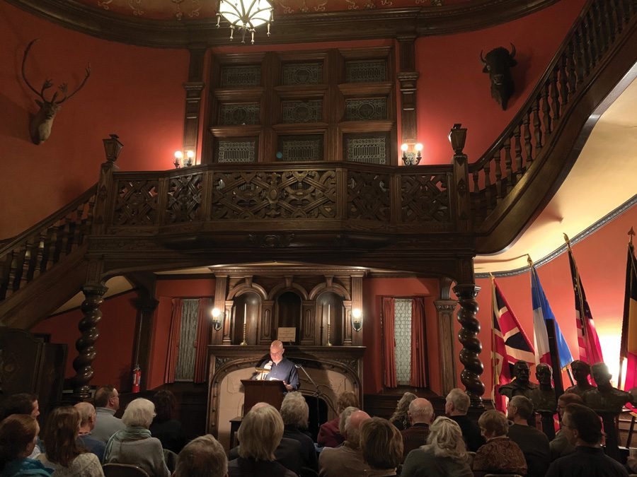 Josh Noel speaks about his book on craft beer at the Evanston History Center on Thursday.