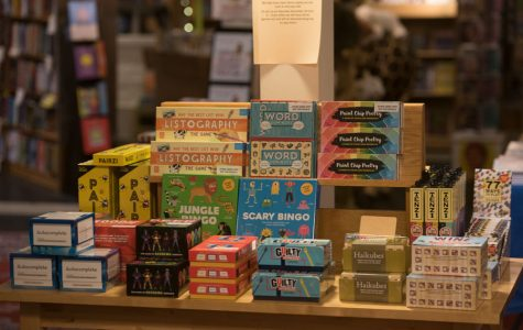 A table of games in Bookends and Beginnings. Store owner Nina Barrett said the shop is planning to open some of the games for people to play at Small Business Saturday on Nov. 30.