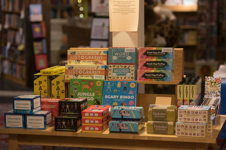 +A+table+of+games+in+Bookends+and+Beginnings.+Store+owner+Nina+Barrett+said+the+shop+is+planning+to+open+some+of+the+games+for+people+to+play+at+Small+Business+Saturday+on+Nov.+30.