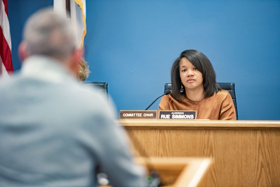 Ald. Robin Rue Simmons (5th) at a City Council meeting. Rue Simmons had questions about the city legalizing recreational cannabis.