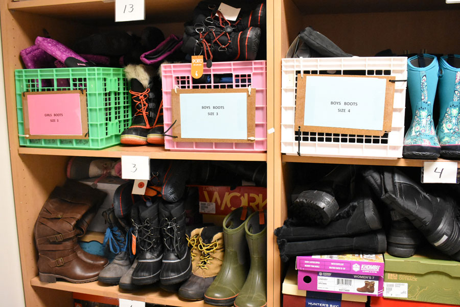 Boots in the Evanston School Children's Clothing Association's headquarters at the Joseph E. Hill Education Center. ESCCA provides District 65 students with warm clothing.