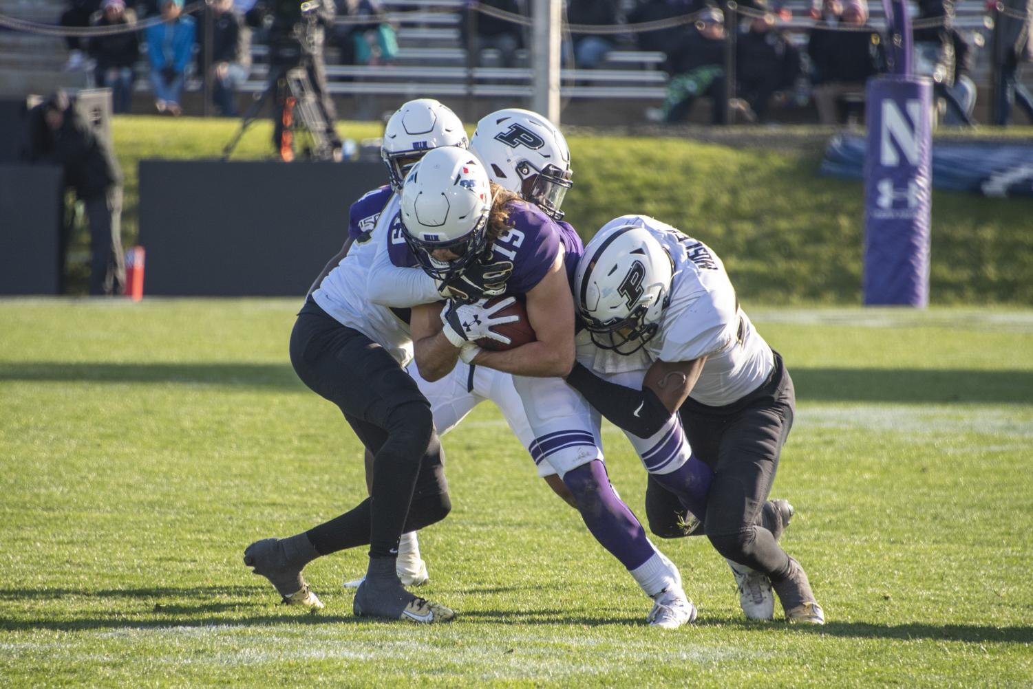 Riley Lees gets brought down. Northwestern fell 24-22 in a heartbreaker Saturday at Ryan Field.