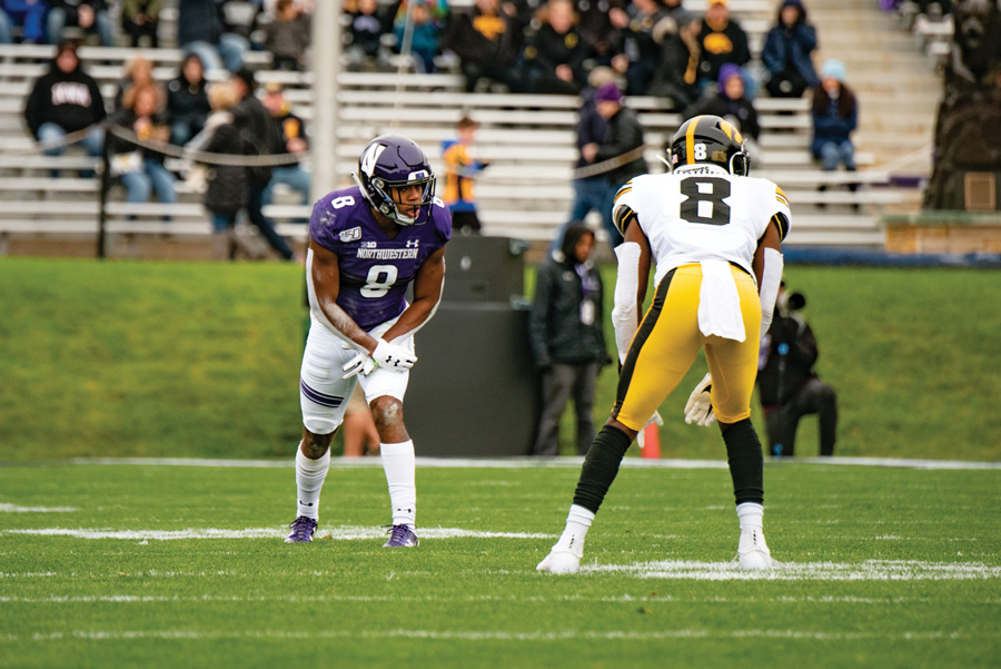 Kyric+McGowan+lines+up+on+the+outside.+The+junior+has+played+both+running+back+and+wide+receiver+for+NU+this+season.